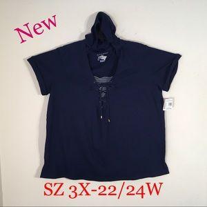 New JMS casual hoodie top cuffed sleeves 3X-22/24W